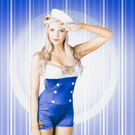 sailor girl: Retro photograph of a navy blue American sailor girl posing for a military salute on pinup blue stripes