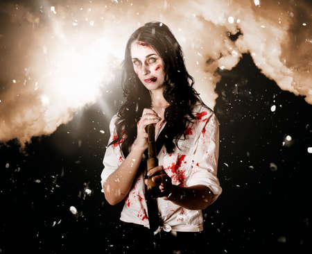 resilience: Bruised and blood stained business woman fighting for life during a storm of hard times while looking to the future with a telescope in a depiction of strength determination and resilience