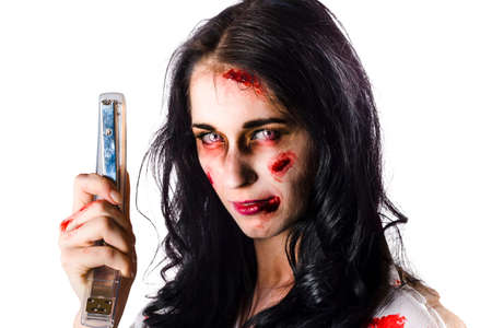 office stapler: Mad woman in zombie make up holding a stapler in a killer office supplies concept