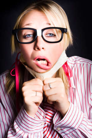 gagged: Nerd Breaks To Freedom When In A Struggle To Reveal Information For The Sake Of Free Speech Stock Photo