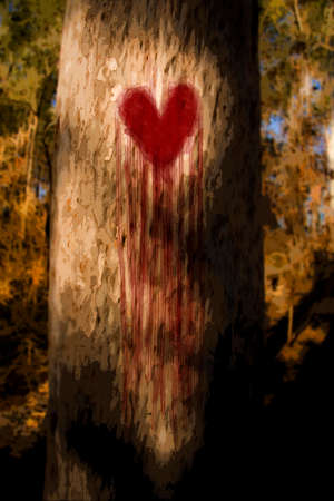 grieving: Environmental Artistic Illustration Of A Tree Wearing A Heart On Its Trunk, Bleeding Tears Of Blood And Heartache While Grieving From Its First Love Heartbreak Stock Photo