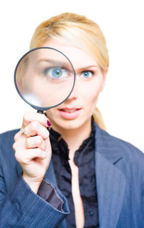 unearth: Market Research Sees The Eye Of A Cheerful Business Woman Peer Through The View Of A Magnifying Glass Lens In A Investigation Analysis And Company Survey Image