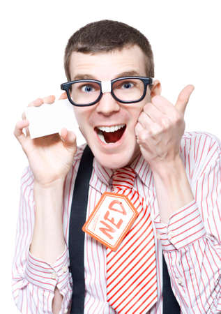 dweeb: Ned The Sales Man Nerd Giving Thumbs Up For A Discount Deal While Holding Business Card Isolated On White Background