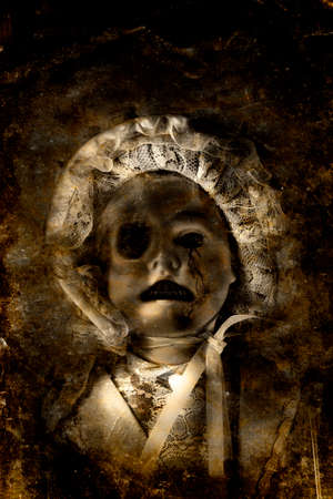 woebegone: Grunge Textured Picture Of A Dark Eerie Porcelain Doll Crying Tears Of Cracks In A Expression Of Desolation And Misery