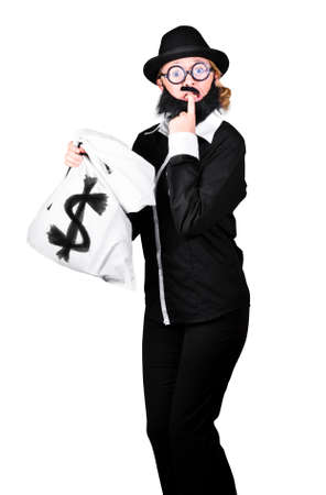 disguised: Disguised Tensed Woman Holding Bag With Dollar Sign On White Background Stock Photo