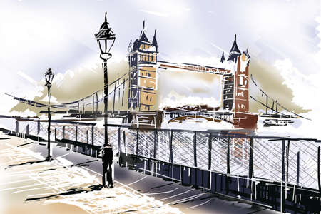london: Fine art drawing of the famous travelling landmark, The Tower Bridge in London UK with boardwalk and Thames. Travelling Great Britain