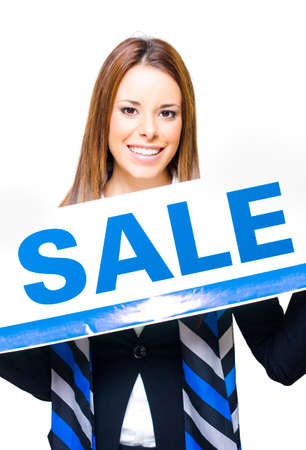 liquidation: Shop Sales Assistant Holding Stock Take Sale Sign Or Board In A Showing Of Discounts Clearance Liquidation And Price Markdowns, Isolated On White Background Stock Photo