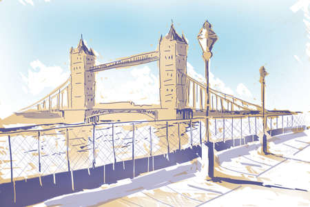 iconic architecture: Classy minimalist hand drawn sketch of the Iconic age old Tower Bridge architecture in London. Europe travel icon
