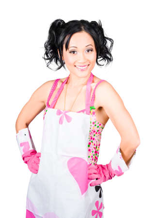 doing chores: Spring cleaning woman smiling while having fun doing chores in housework apron and washing gloves, isolated on white background