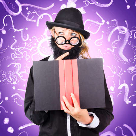 knowledgeable: Quirky purple portrait of a knowledgeable business person thinking with finger to fake beard while reading puzzle solving book, question mark background