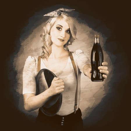 pin up vintage: Annuncio di Retro. Grunge foto di una cameriera pinup d'epoca dando bottiglia cola alla stazione di servizio