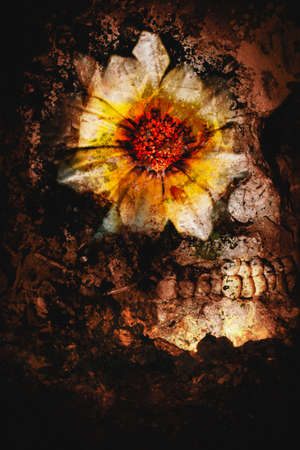 corpse flower: Dark fantasy design of a skull and painted on flower montaged on dark background. Beauty in passing Stock Photo