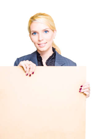 markdown: Marketing And Personal Relations Sales Business Woman Holds Up A Banner Or Empty Board With Text Copy Space In A Retail Discount Markdown And Sale Concept Stock Photo