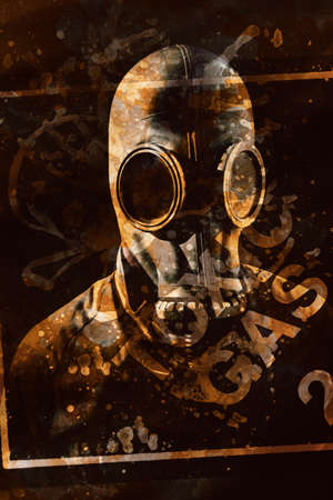 chemical hazard: Safety and pollution creative design on a man wearing gas mask apparatus with overlayed toxic gas label. Chemical hazard