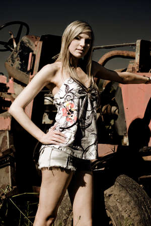 tough girl: Standing Tall Tough And Proud By Her Tractor Shes The Outback Country Farm Girl