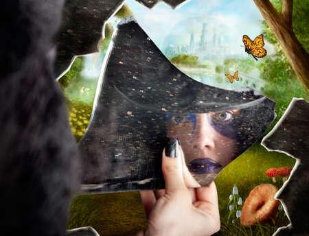 reflection mirror: Wonderland jester standing behind broken mirror revealing a magical hidden wonderland of enchanted creatures in fairy tale landscapes
