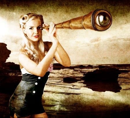 genre: Artistic Aged Grunge Brown Image Of A Beautiful Young Woman Holding A Telescope With A Human Eye In Place Of The Lens In The Steampunk Genre Of Alternative History Based On The Victorian Or Steam Era Stock Photo