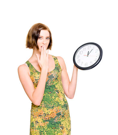 gasping: Late Woman Gasping In Shock And Surprise With A Hand To Face While Holding An Analogue Wall Clock In A Deadline Concept About Delays And Bad Time Management