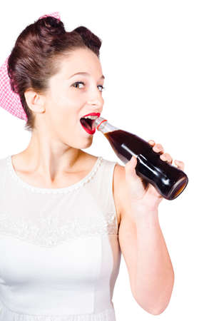 sodas: Isolated retro diner patron drinking out of cola bottle with mouth open. Old-fashion pop art