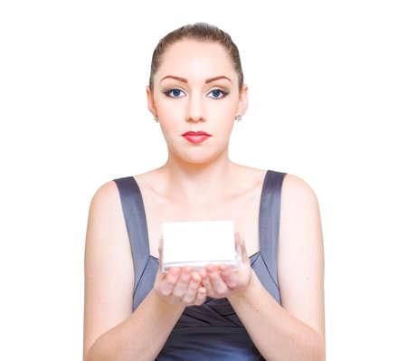 distinguishing: Business Woman Publicizing Her Corporate Identity While Holding A Blank Copy Space Business Card In A Business Branding And Personal Relations Concept
