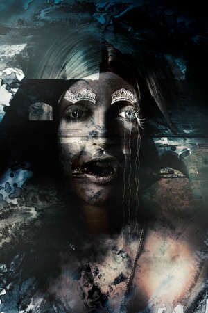 scary girl: Double exposure horror art on the face of an evil vampire hissing before a dark night castle background. A gothic mystery