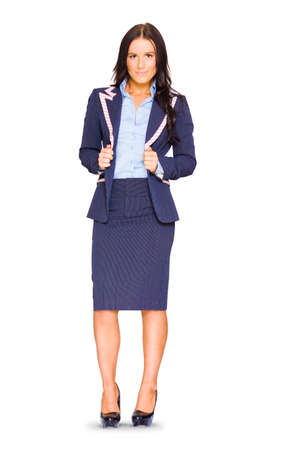 lapels: Full Body Isolated Studio Portrait Of A Smiling Female Business Woman Holding Jacket On Pin Striped Suit In A Stance Of Job Dedication Commitment And Trust
