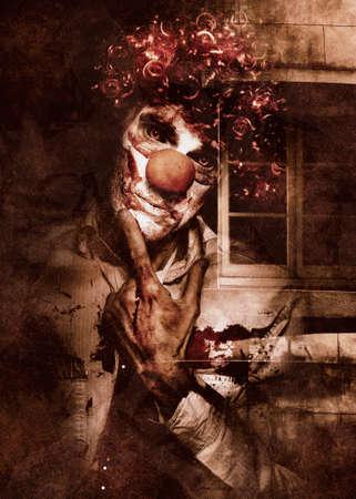 payaso: Oscuro arte teatral de terror de un payaso malo meditando con la expresión asustadiza delante de una ventana de la casa de terror. Espeluznante espectáculo de fenómenos