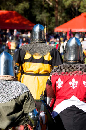 squadron: Knights Stand Up At The Kings Tournament To Battle For The Right To Be In The Elite Knight Squadron. Stock Photo