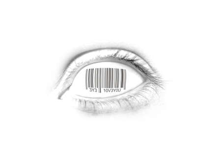 futuristic eye: A Vision Of Romance With Eye Love You Barcoded On Eye