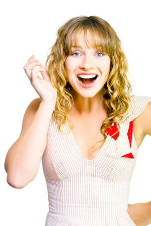 outspoken: Studio shot of happy attractive woman with excited wide smile on white background