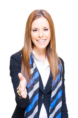greets: White Background Studio Photo Of A Happy Smiling Business Woman Shaking Hands In Success And Acceptance Over A Business Deal When Winning Business And Clients
