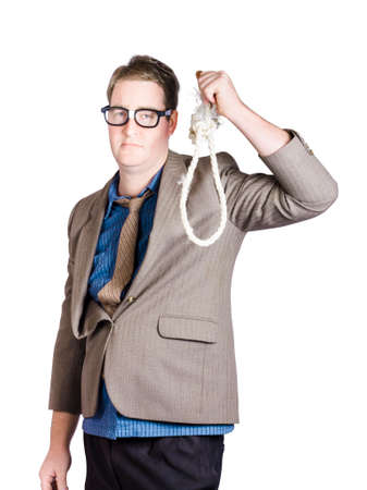helpless: Helpless businessman holding rope with tied noose. Business struggle