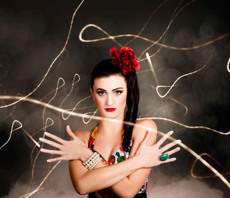 hairpiece: Abstract photo of a beautiful girl in retro fashion style, evening glamour