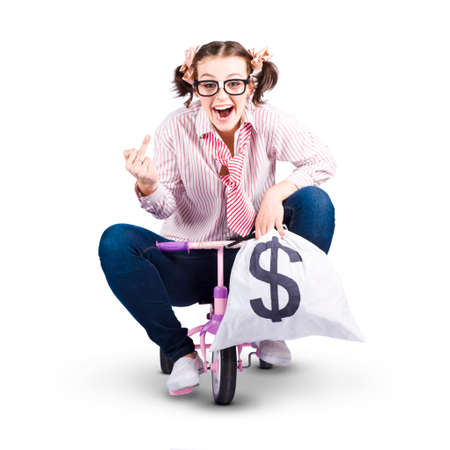 sacked: Redundant Business Person Riding Kids Bike With A Bag Of Money In A Funny Depiction Of A Payout