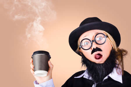 steaming coffee: Surprised comical female character saying hi while on a caffine high, showing her love for coffee with steaming hot takeaway coffee cup