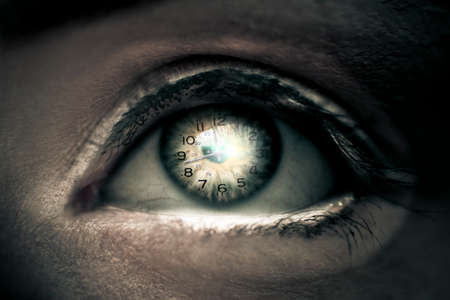 woman eyeball: Time Passes In The Blink As A Eye With A Clock Built In Watches Time Tick By