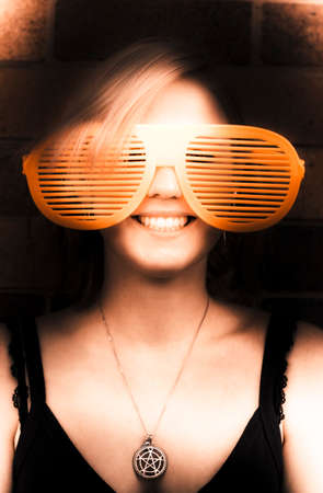 over sized: Sepia Portrait Of Retro Young Blond Hair Woman With Large Or Over Sized Sunglasses