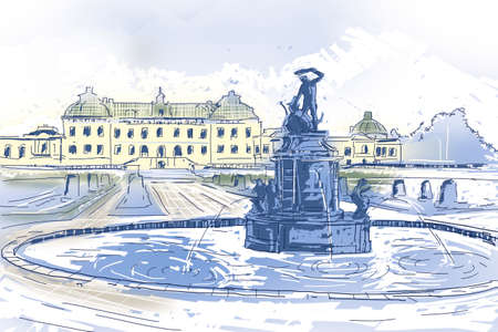european: Creative travel landscape Illustration of Drottningholms slott royal palace and fountain on the outskirts of Stockholm, Sweden