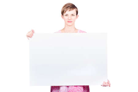 emotionless: Female protester advocating concern on a white card sign during a studio demonstration