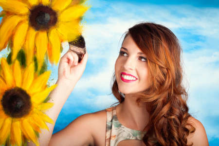 artists: Illustration portrait of a creative woman painting sunflowers with a brush over sky background