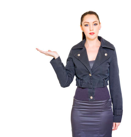 commercialism: Retail Sales And Marketing Woman Displaying Empty Hand To Place Your Product Or Text Copy Space Here In A Merchandise Advertisement On White Background Stock Photo