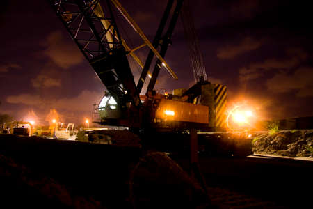 ted: Closeup On The Base Of A Night Time Construction Crane, Taken While At The Construction Site For The Ted Smout Bridge Joining Brighton To Redcliffe, Queensland Australia. Stock Photo