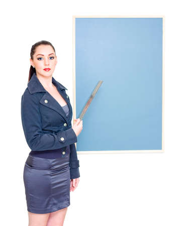 Caucasian woman: Business Marketing Woman Holding Ruler To Chalkboard When Displaying Text Copyspace In A Place Your Message On The Chalk Board Concept, On White Stock Photo