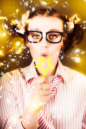depiction: Portrait Of Fun Nerd Business Woman Blowing Soap Bubbles Through A Star In A Depiction Of Business Success