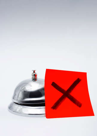 unsatisfactory: Feedback Of Bad Customer Service Concept With A Big Red Cross Next To A Service Bell, With Copyspace