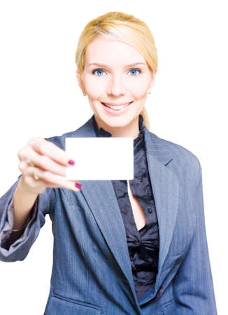 notecard: Isolated Studio Portrait Of A Gorgeous Woman Holding A Blank Business Card With Copy Space Or Room For Text In A Notecard Placard And Presentation Concept Stock Photo