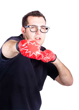concentrates: Man with boxing loves punching hard during a gruelling personal training session, white background