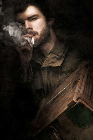 battle: WW2 Ground Infantry Soldier Looking Determined While Smoking On A Cigarette And Carrying A Box Filled With Small Arms Ammunition During The Battle Of His Life Stock Photo