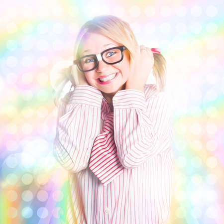 70s disco: Cute 70s Nightclub Nerd Dancing Like Its Still 1970 On A Bright And Colourful Disco Party Background Stock Photo