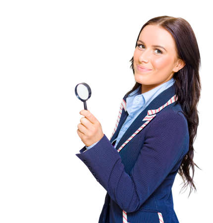 scrutinise: Happy Young Beautiful Brunette Business Woman Smiling While Holding Looking Glass During A Fact And Information Finding Discovery To Business Success